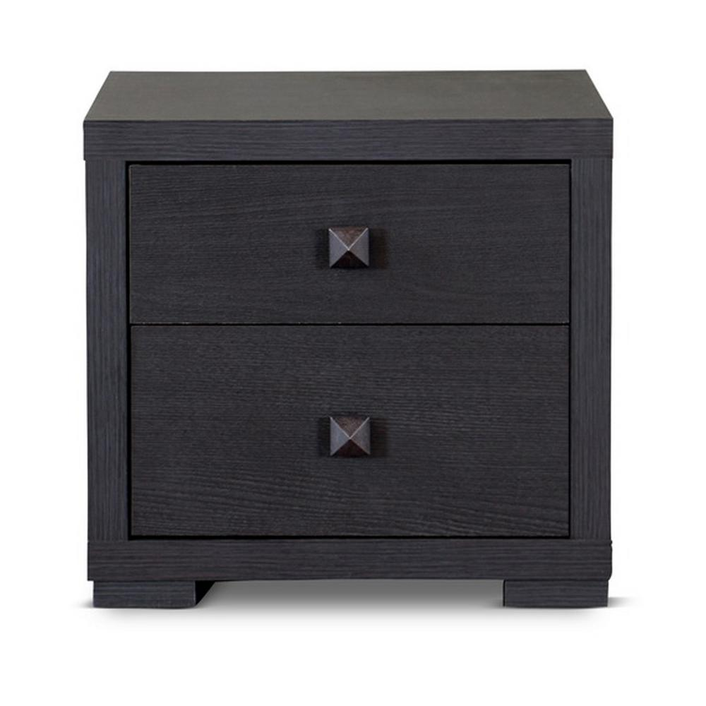 Espresso 2-Drawer Contemporary Dark Brown Wood Finished Wood Nightstand