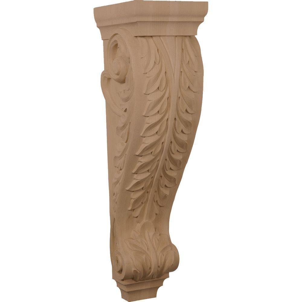 Ekena Millwork 8 in. x 9 in. x 30 in. Unfinished Wood Hard Maple (Brown) Large Jumbo Acanthus Corbel