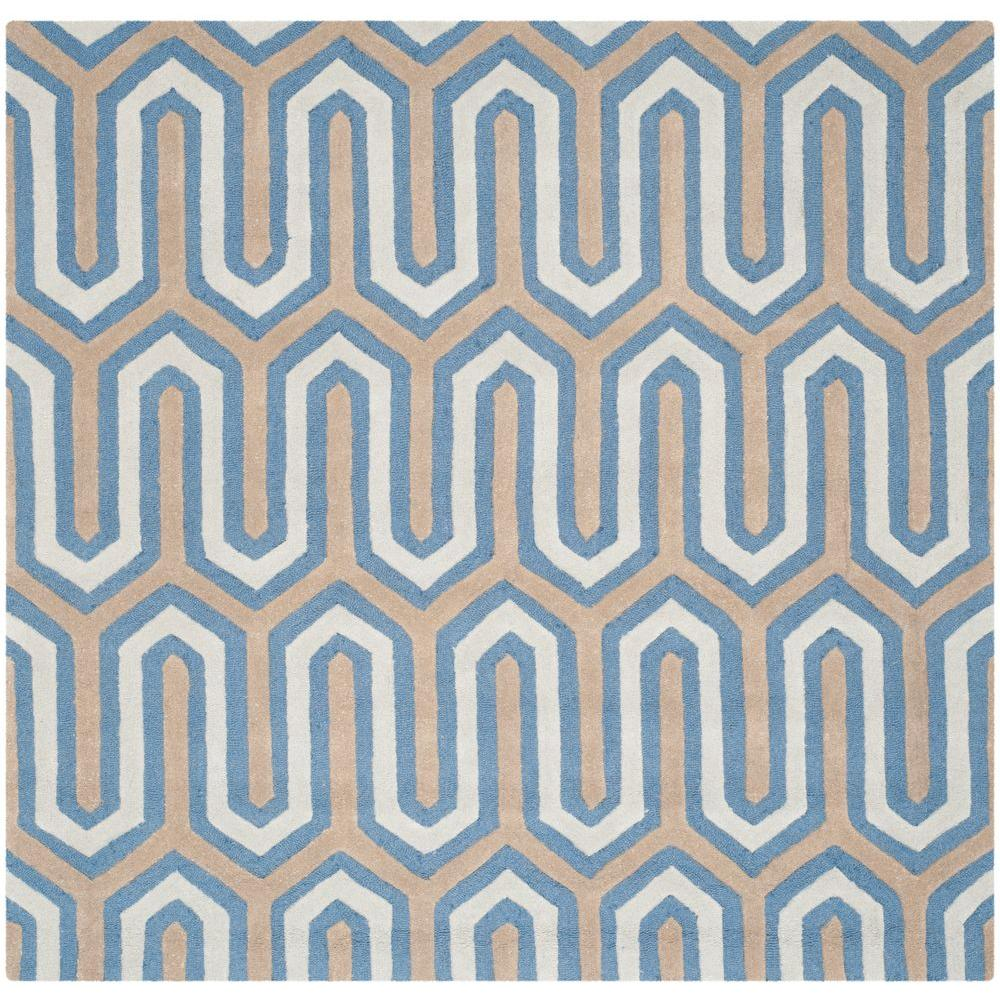 Cambridge Navy/Gray 6 ft. x 6 ft. Square Area Rug