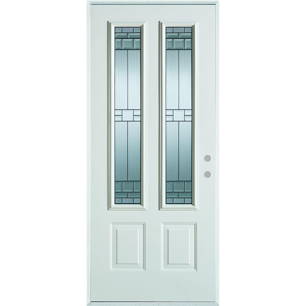 Stanley Doors 36 in. x 80 in. Architectural 2 Lite 2-Panel Painted White Steel Prehung Front Door, Prefinished White/Zinc Glass Caming