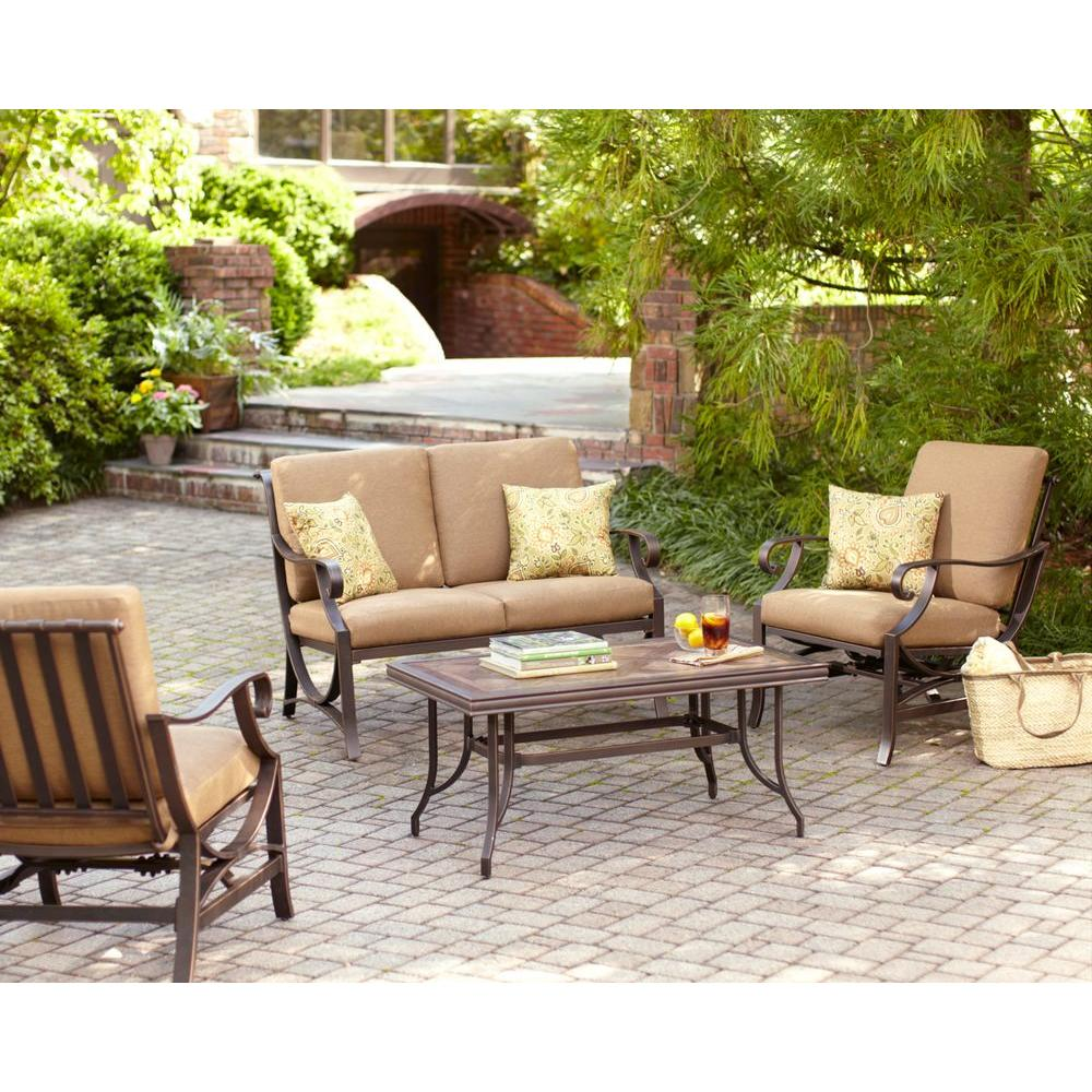 Hampton Bay Pine Valley 4-Piece Patio Seating Set with Linen Spice Cushions