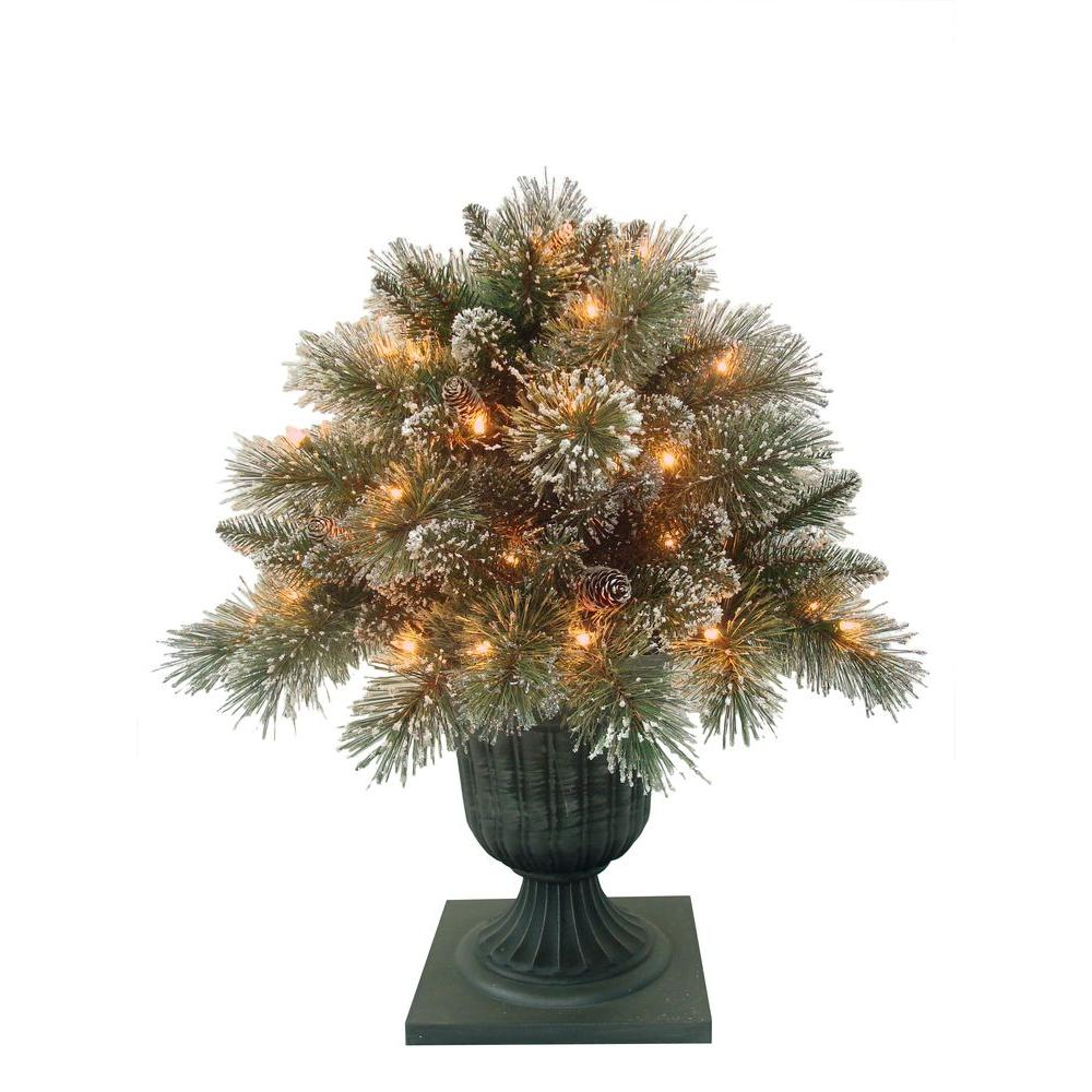 Martha Stewart Living 24 in. Sparkling Pine Potted Artificial Porch Bush with 50 Clear Lights