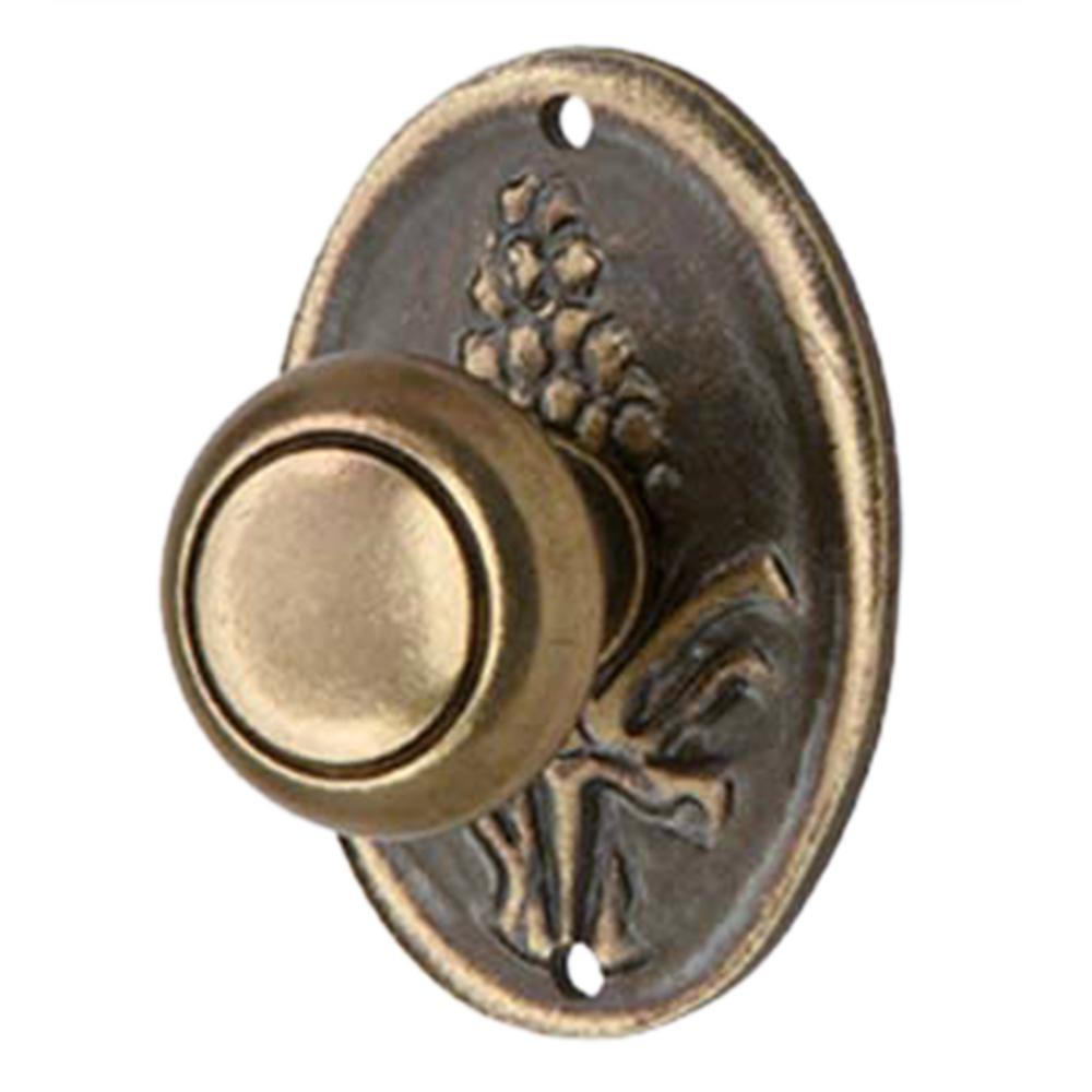 Knob with Vertical Plate Country Style Burnished Brass