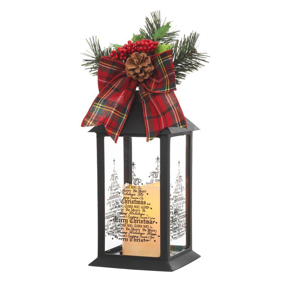 Home accents holiday 13 in black plastic lantern with outdoor resin timer candle 42917hd the for Home depot christmas decorations for the yard