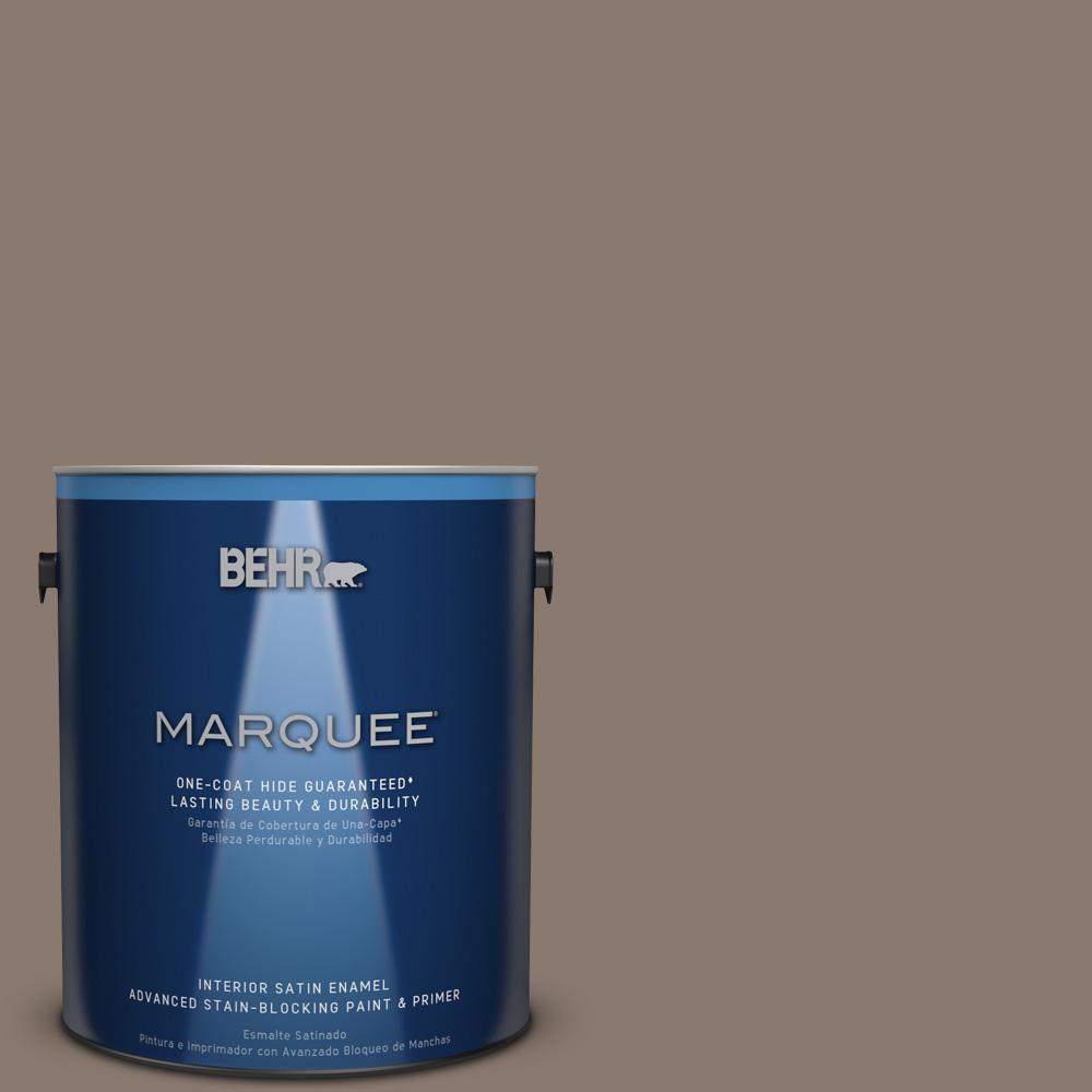 1 gal. #T18-07 Road Less Travelled Satin Enamel Interior Paint