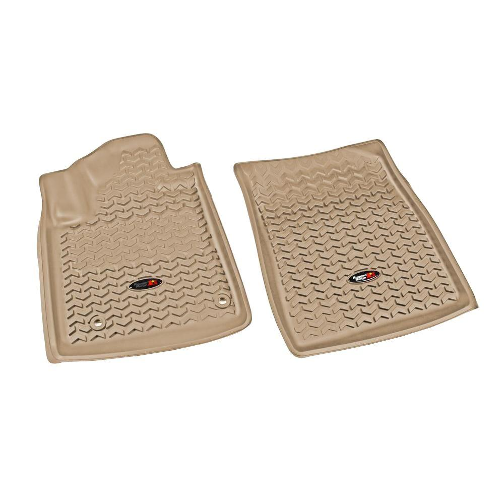 Rugged Ridge Floor Liner Front Pair Tan 2012-2013 Toyota Tundra and Sequoia