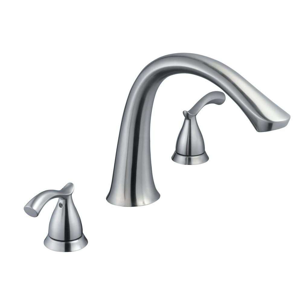 Glacier Bay Edgewood 2-Handle Deck-Mount Roman Tub Faucet in Brushed