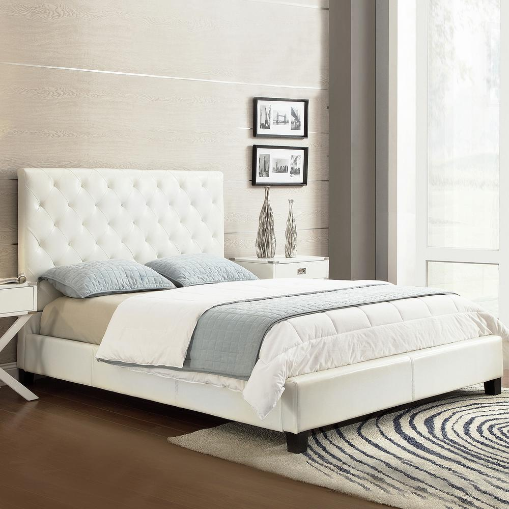calais white queen upholstered bed - Platform Bed Frame Queen