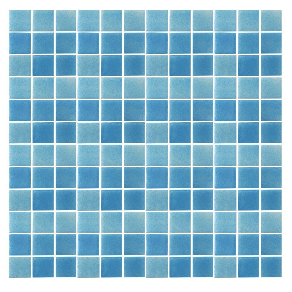 Spongez S-Light Blue-1408 Mosiac Recycled Glass Mesh Mounted Floor and Wall