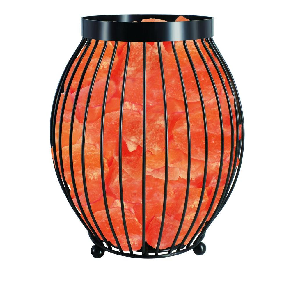 Himalayan Glow 8.3 in. Ionic Crystal Natural Salt Oval Basket Lamp-1345 - The Home Depot