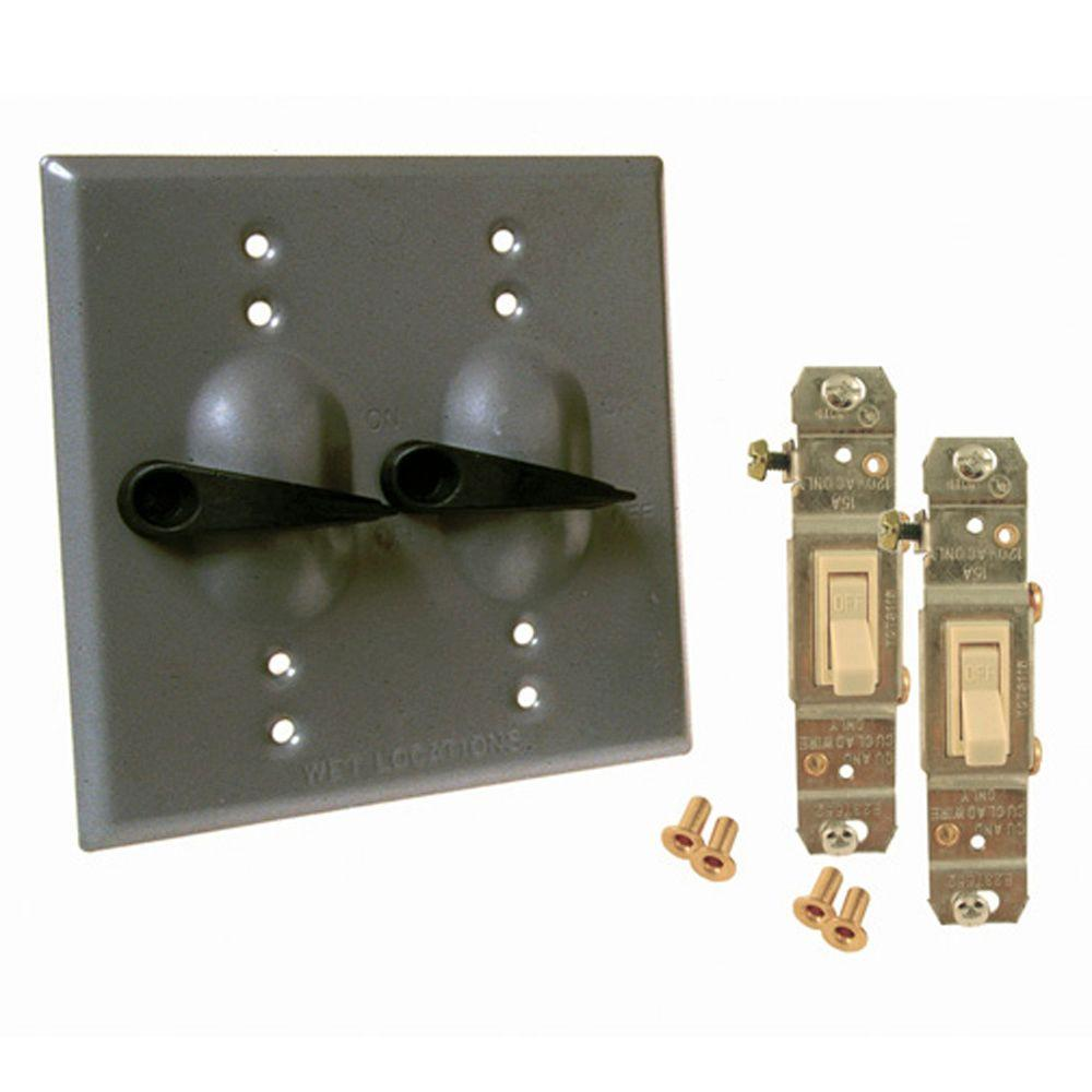 null 2 Gang Weatherproof Toggle Switch Cover Kit