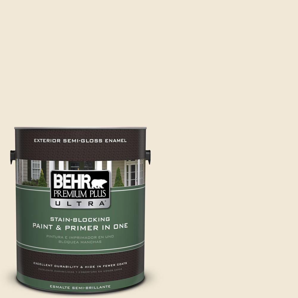BEHR Premium Plus Ultra 1-gal. #YL-W8 Yucca White Semi-Gloss Enamel Exterior Paint