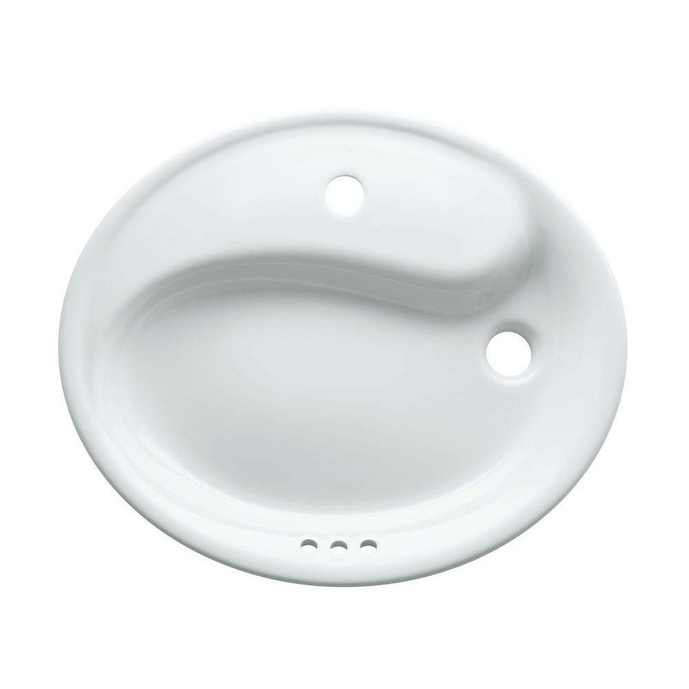 KOHLER Yin-Yang Wading Pool Drop-In Vitreous China Bathroom Sink in White with Overflow Drain