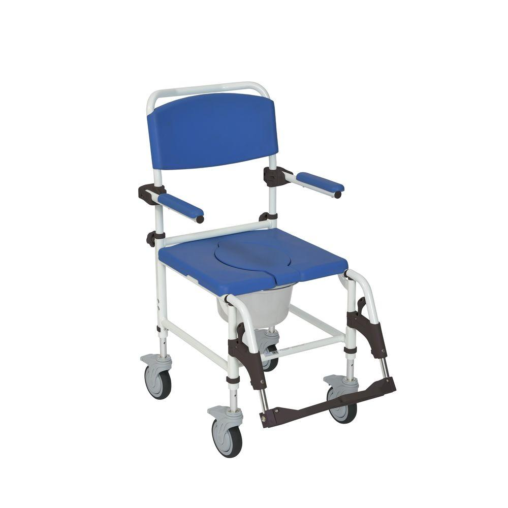 Drive Aluminum Shower Commode Mobile Transport Wheelchair, Blue