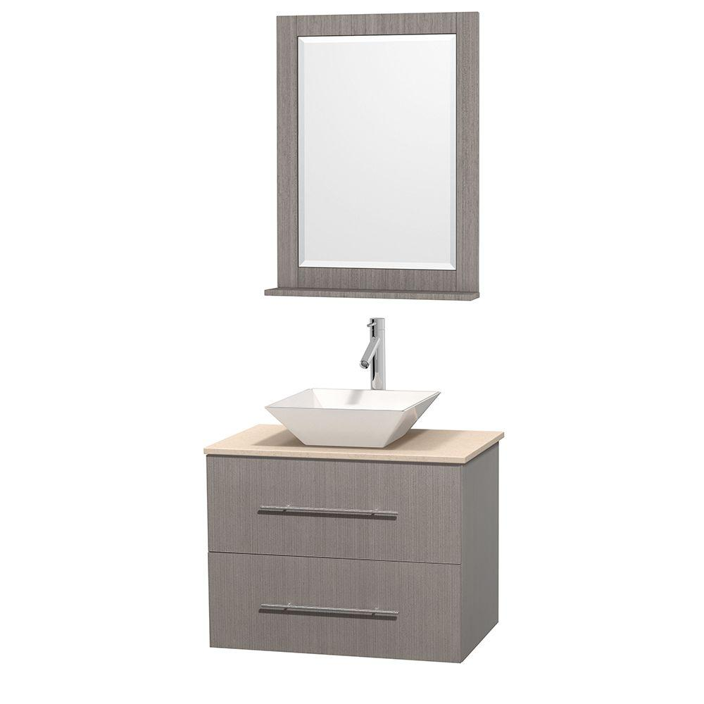 Wyndham Collection Centra 30 in. Vanity in Gray Oak with Marble