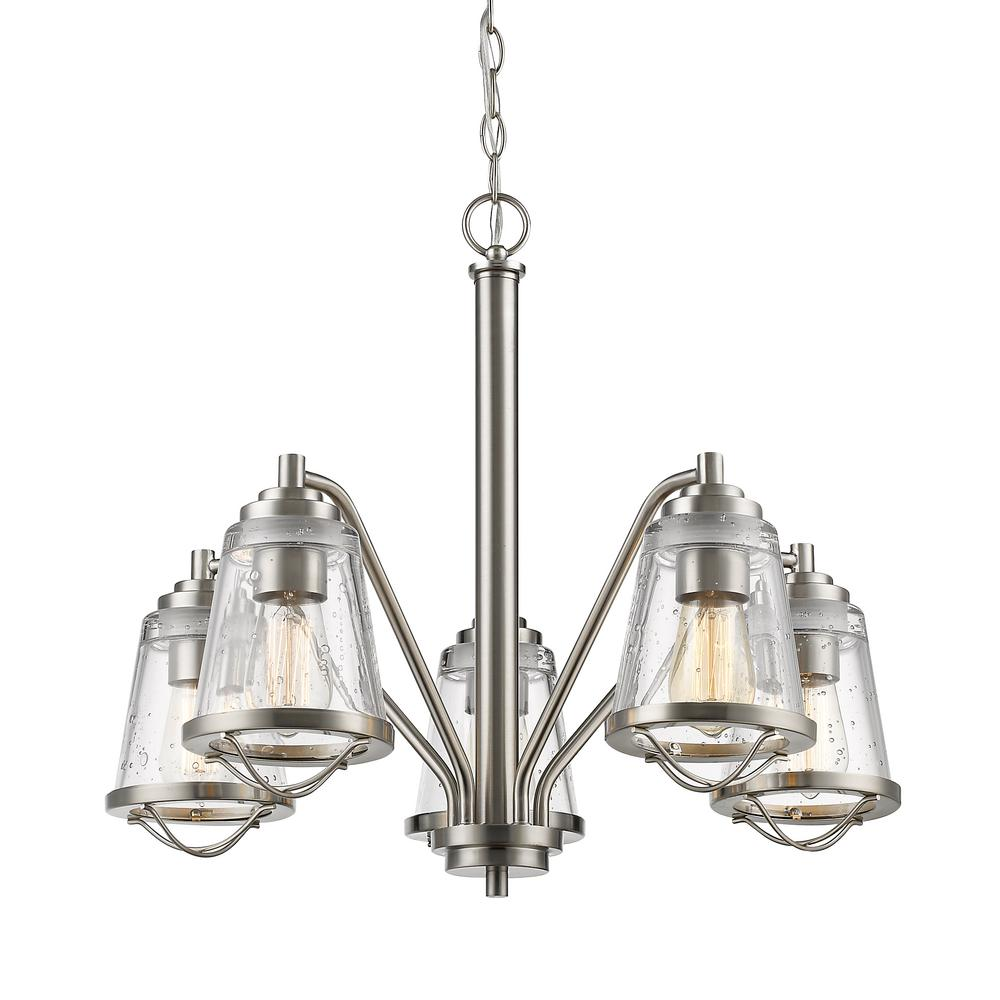 Lorinda 5-Light Brushed Nickel Chandelier with Clear Seedy Glass Shade