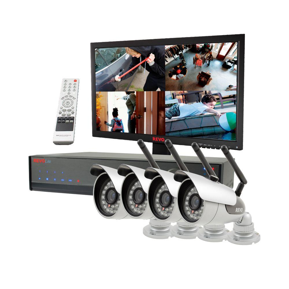 Revo Lite 4-Channel 500GB 960H DVR Surveillance System with (4) 600TVL Wireless Bullet Cameras and Monitor