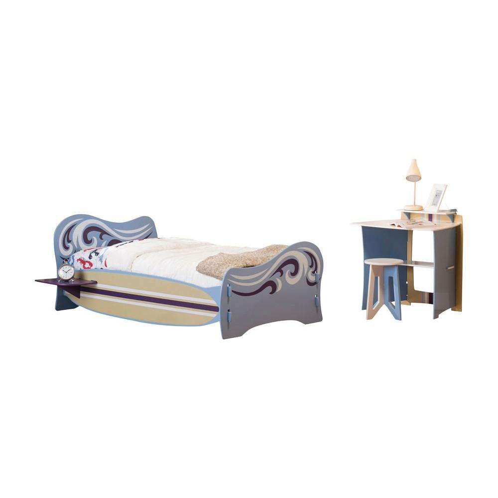 null Legare Surfer Blue and White Twin-Size Bed and Desk Set (2-Piece)