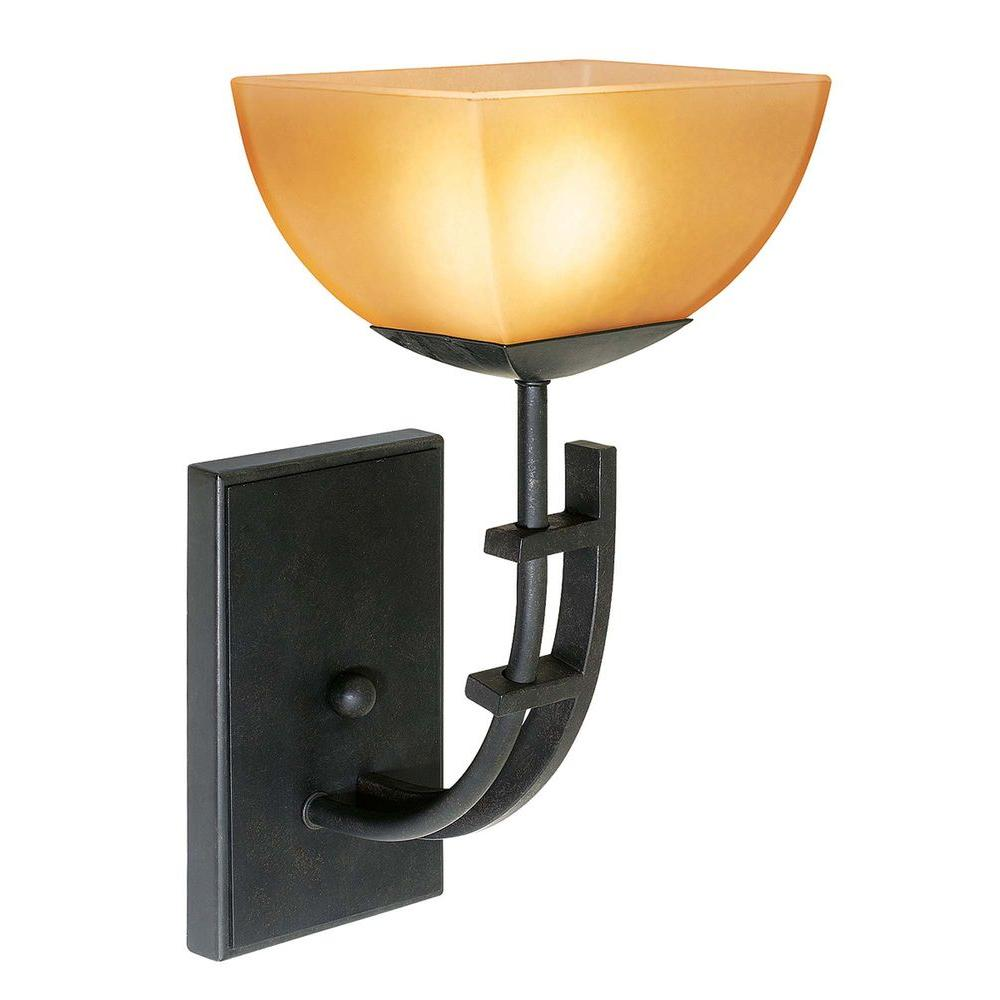 Access Lighting 1 Light Vanity Antique Bronze Finish Amber Glass -DISCONTINUED