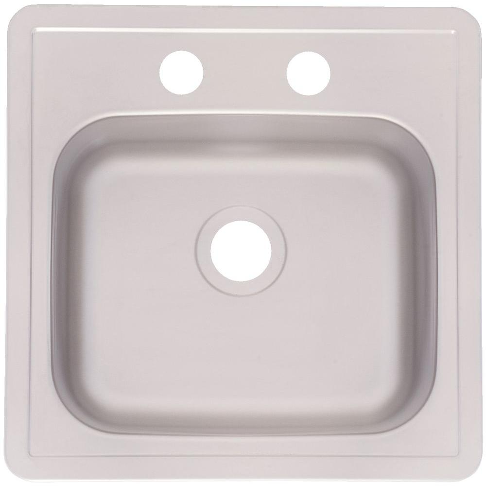 FrankeUSA Drop-In Satin Stainless Steel 15 in. 2-Hole Bar Sink ...