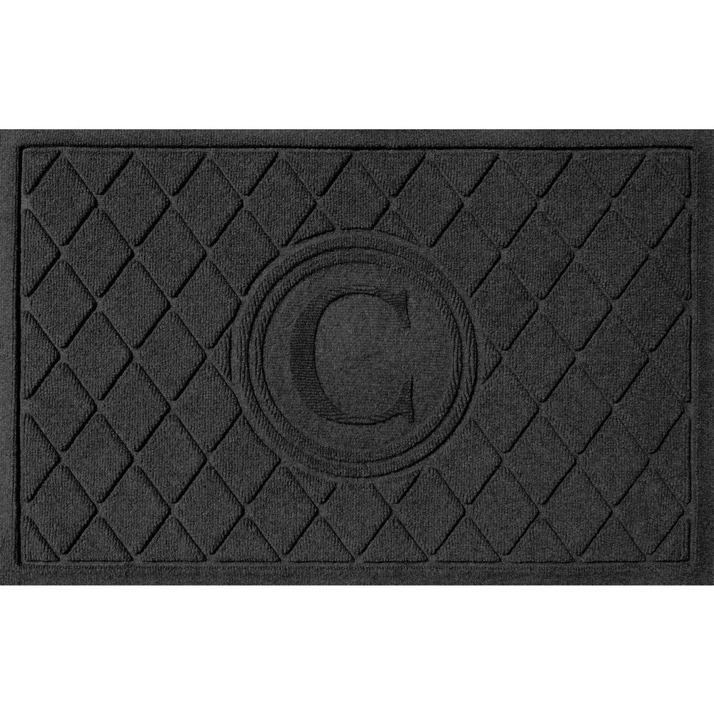 Argyle Charcoal (Grey) 24 in. x 36 in. Monogram C Door Mat