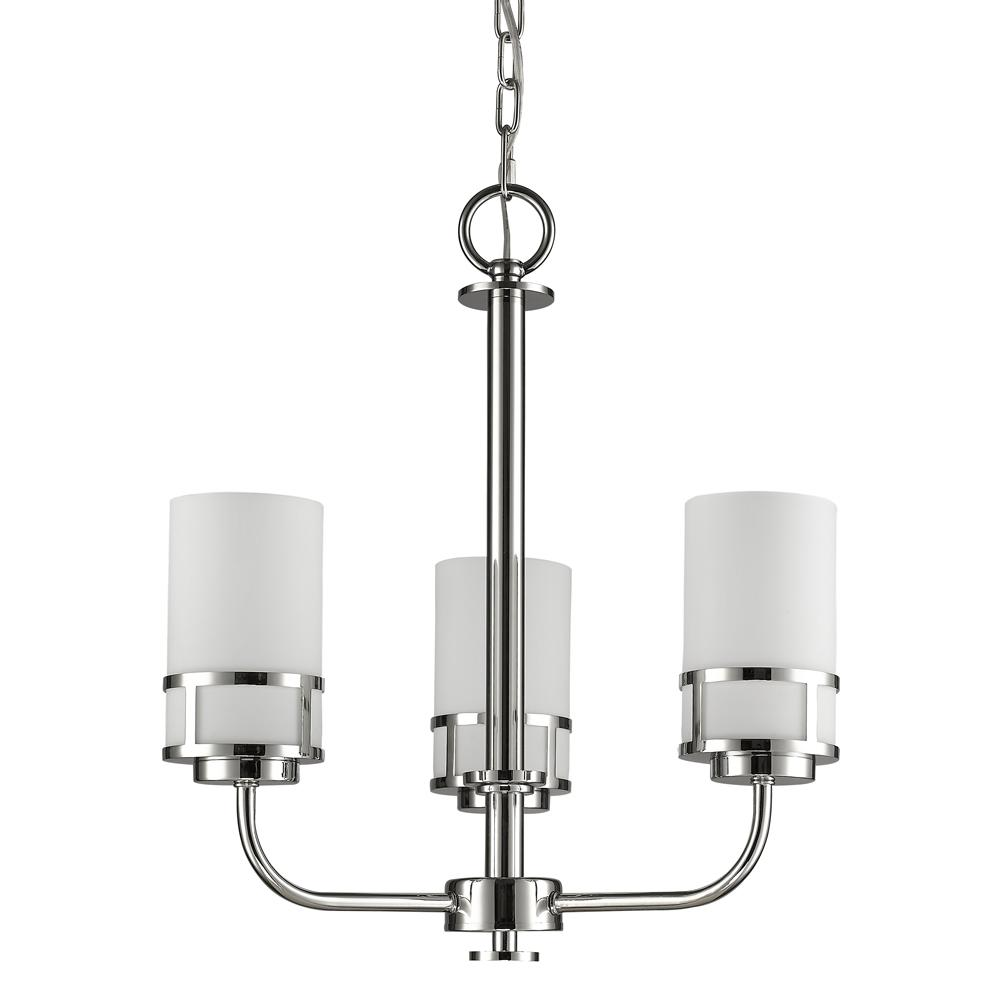 Alexis Indoor 3-Light Polished Nickel Mini Chandelier with Glass Shades