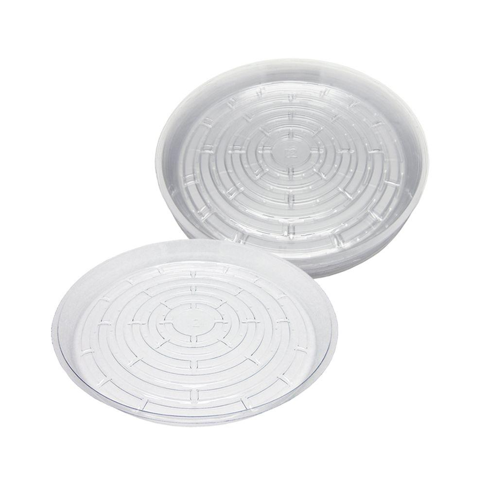Viagrow 12 in. Clear Plastic Saucer (20-Pack)-V12CS - The Home Depot