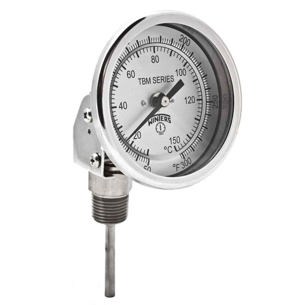 TBM Series 3 in. Dial Thermometer with Adjustable Angle Connection and