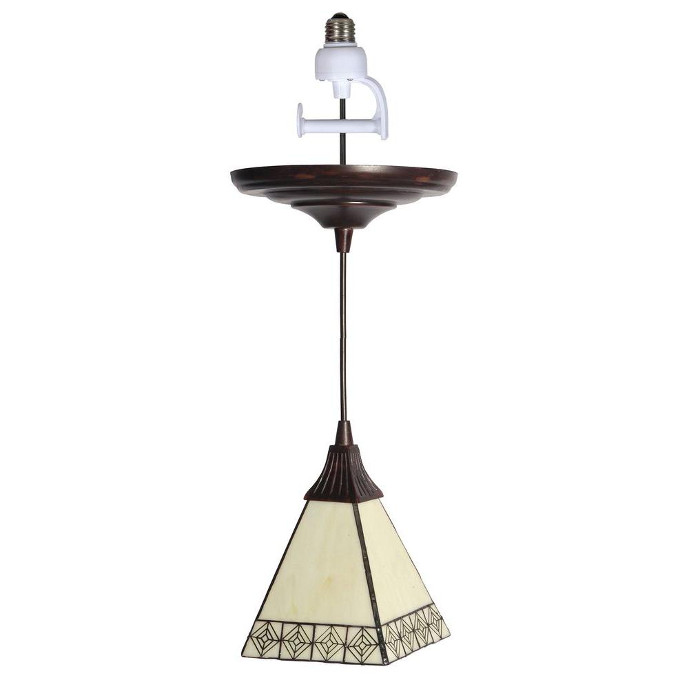 Worth Home Products Tiffany Style Glass Shade with Antique Bronze Finish Instant Pendant Light Conversion Kit-DISCONTINUED