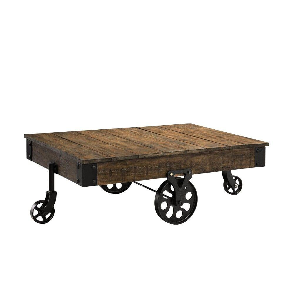Mill Cart Coffee Table Home Decorators Collection Holden Distressed Natural Mobile Coffee