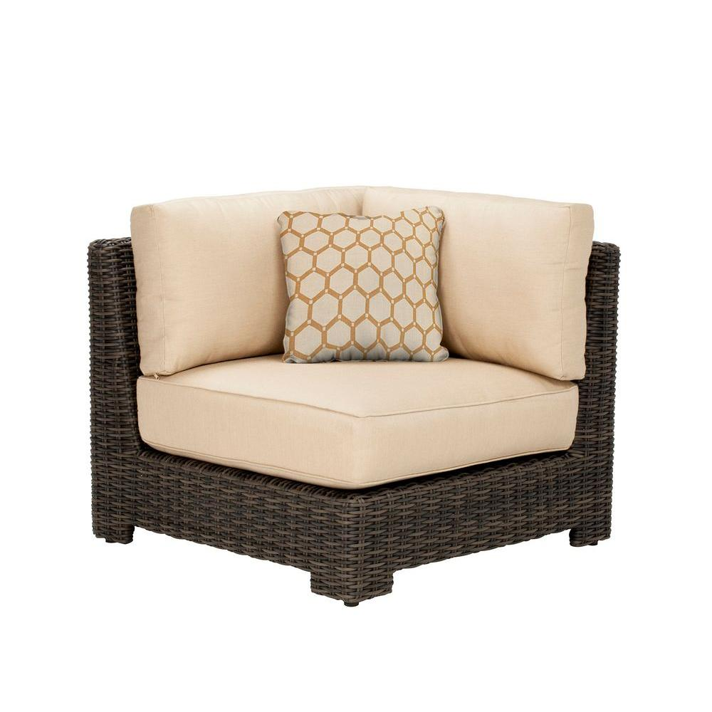 Northshore Corner Patio Sectional Chair with Harvest Cushion and Tessa Barley