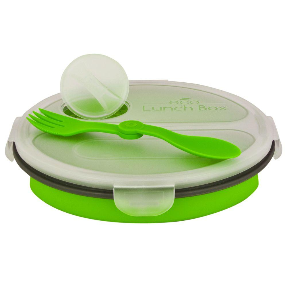 SmartPlanet 36 oz. Collapsible 2 Compartment Oval Eco Lunchbox Green