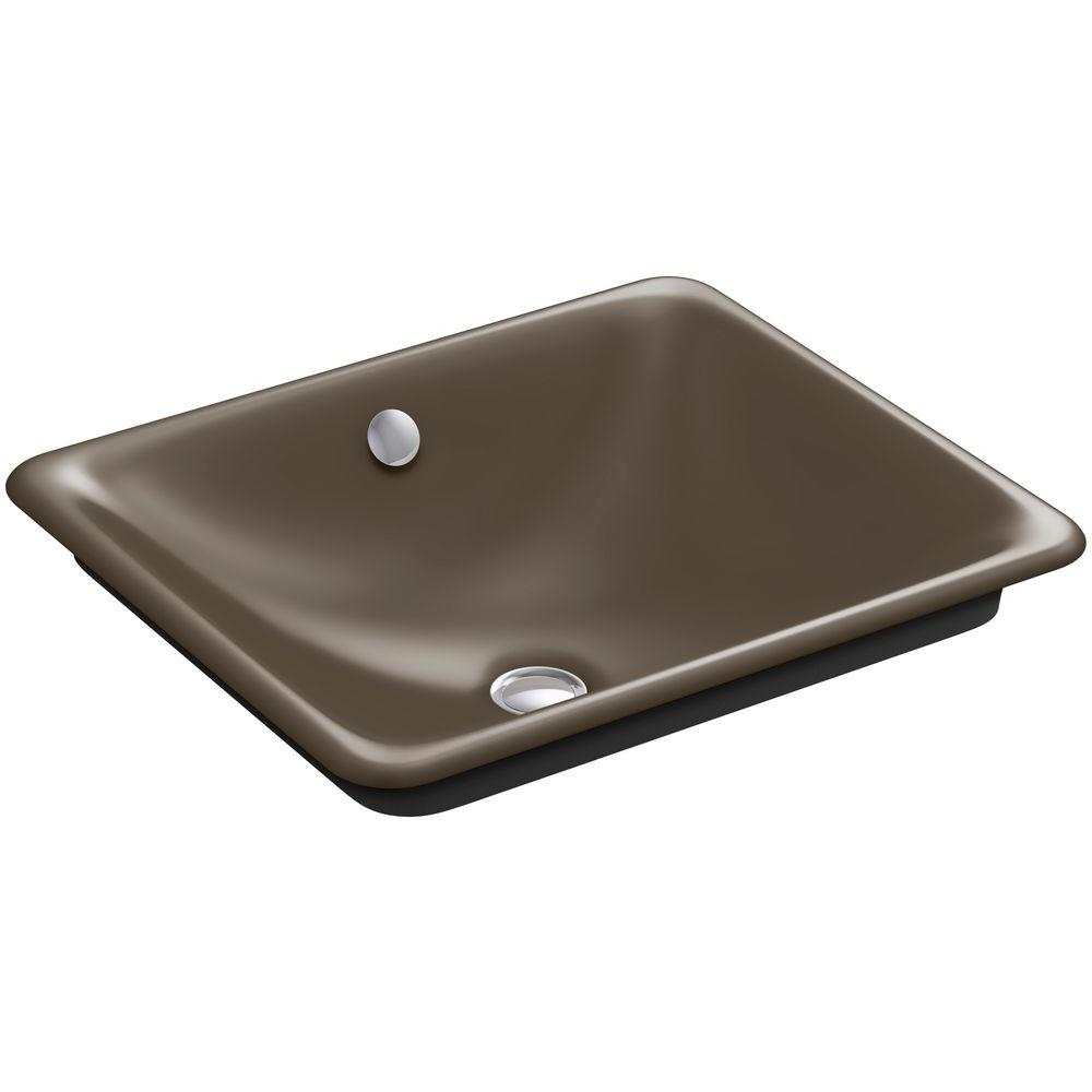 KOHLER Iron Plains Cast Iron Vessel Sink with Black Iron Painted Underside in Suede with Overflow Drain