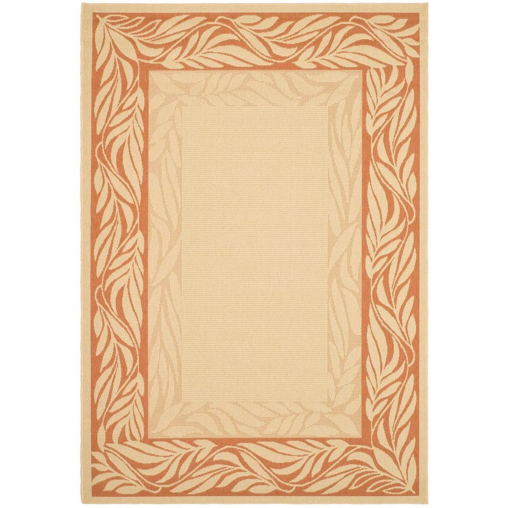 Courtyard Natural/Terracotta 8 ft. x 11 ft. Indoor/Outdoor Area Rug