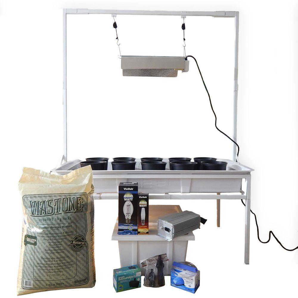 2 ft. x 4 ft. White Flood and Drain Benched System with Light Stand and 400-Watt Electronic Dimmable System