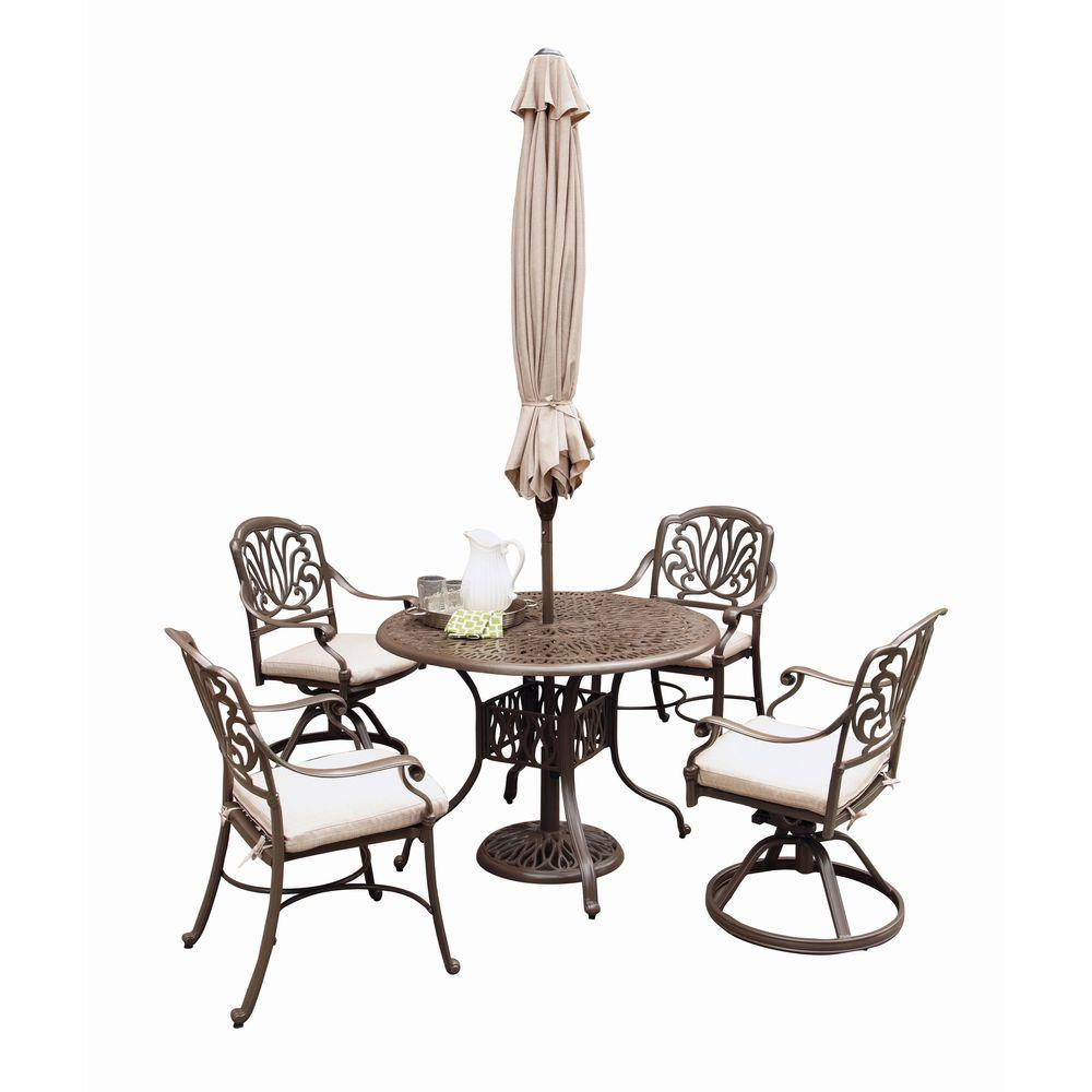 Home Styles Floral Blossom Taupe 5-Piece Patio Dining Set with Beige Cushions and Umbrella