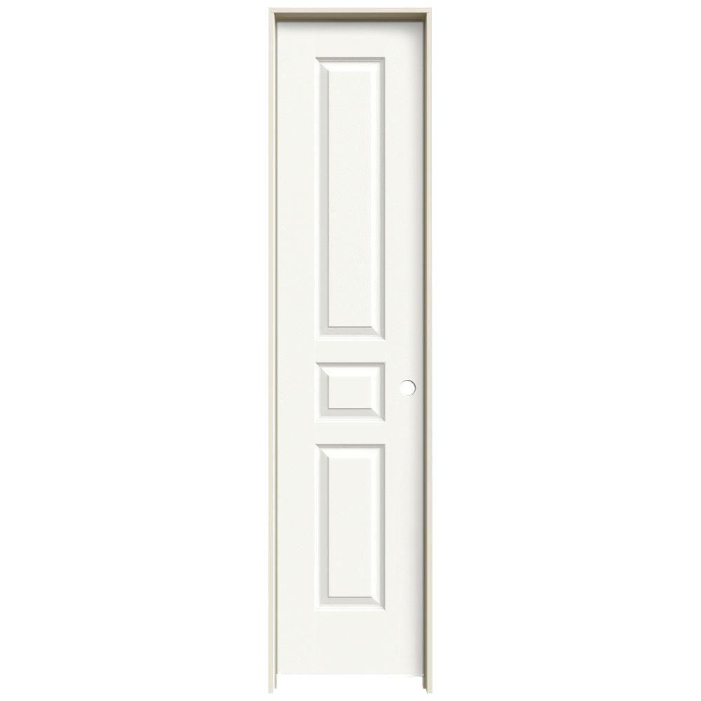 JELD-WEN 18 in. x 80 in. Molded Textured 3-Panel Square Brilliant White Hollow Core Composite Single Prehung Interior Door
