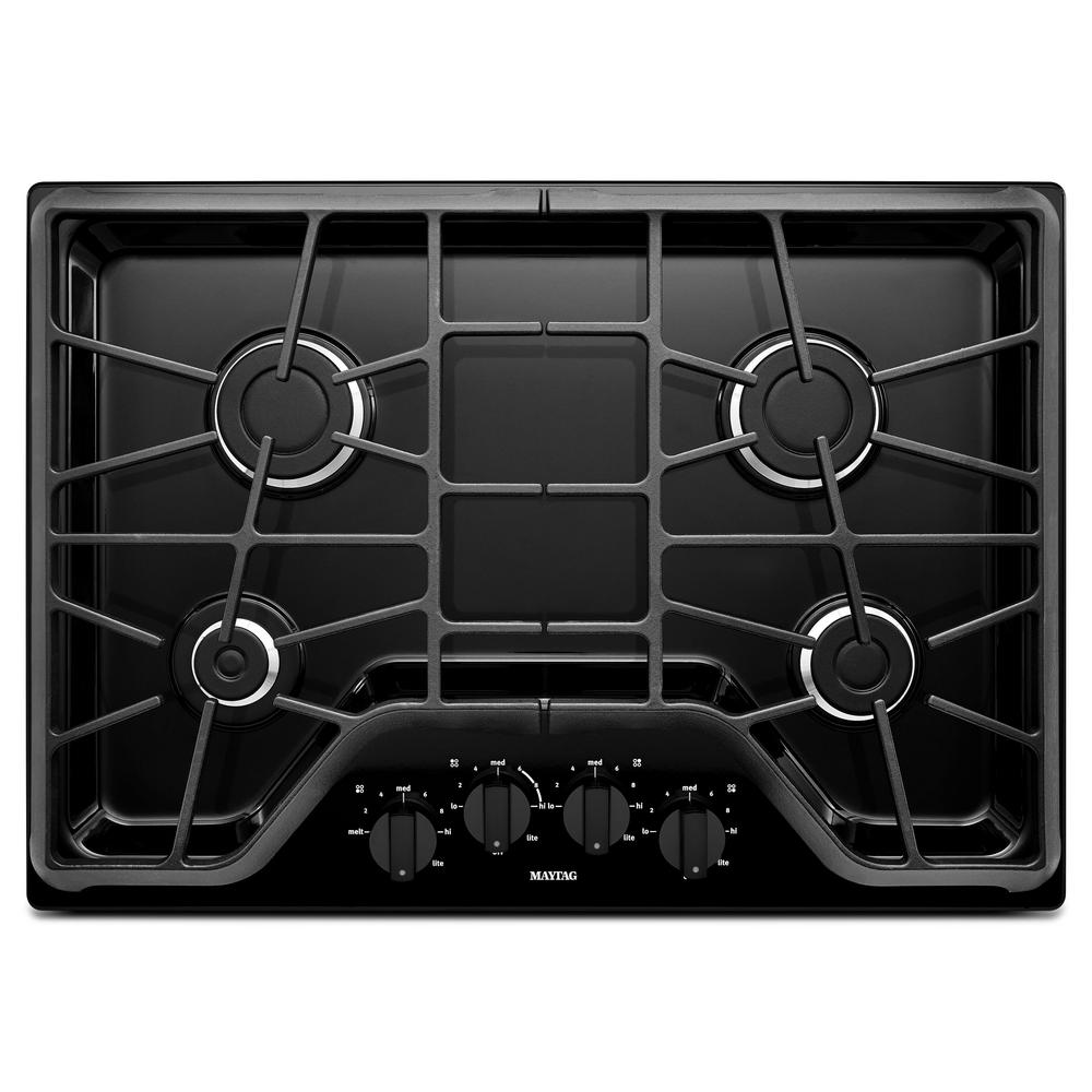 30 in. Gas Cooktop in Black with 4-Burners including 15000-BTU Power