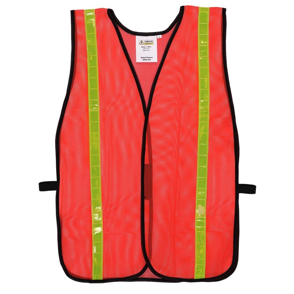 High Visibility Orange Mesh Safety Vest (One Size Fits All)