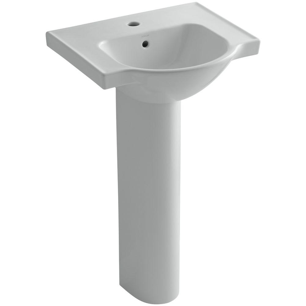 KOHLER Veer Vitreous China Pedestal Combo Bathroom Sink in Ice Grey with Overflow Drain