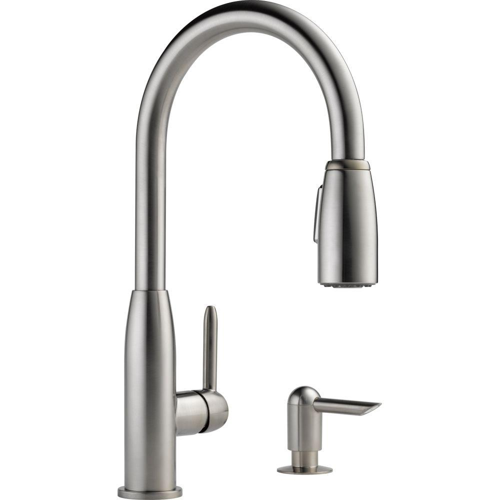 Apex Integrated Single-Handle Pull-Down Sprayer Kitchen Faucet with Soap