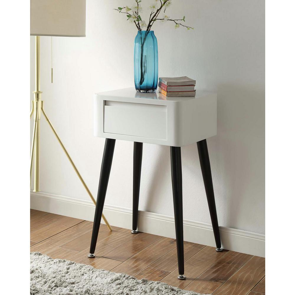 Mid-Century Black and White Storage Side Table