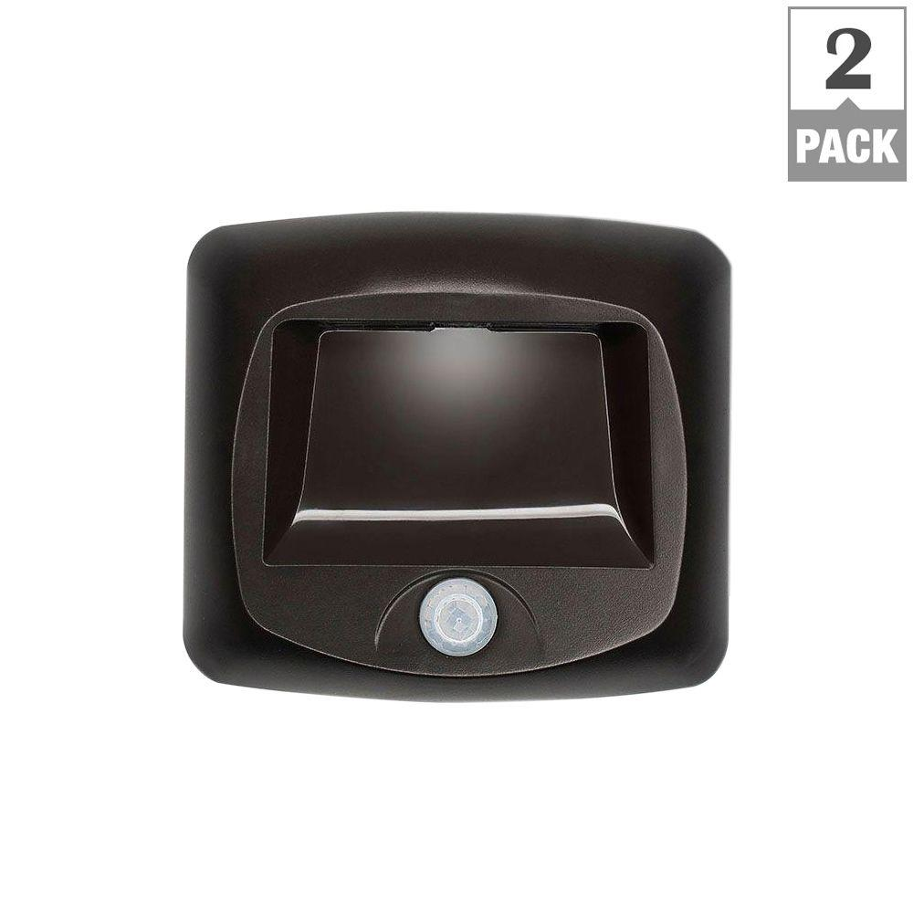 Outdoor Wireless Motion Sensing LED Step/Stair Light - Brown (2-Pack)