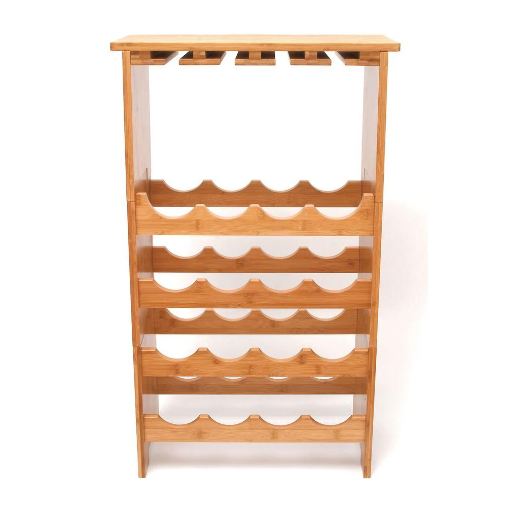 Lipper International 33.37 in. x 19.75 in. x 9.5 in. Bamboo 3-Tier Wine and Glass Rack-DISCONTINUED