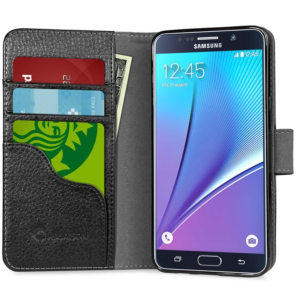 i-Blason Slim Leather Wallet Case for Galaxy Note 5, Black