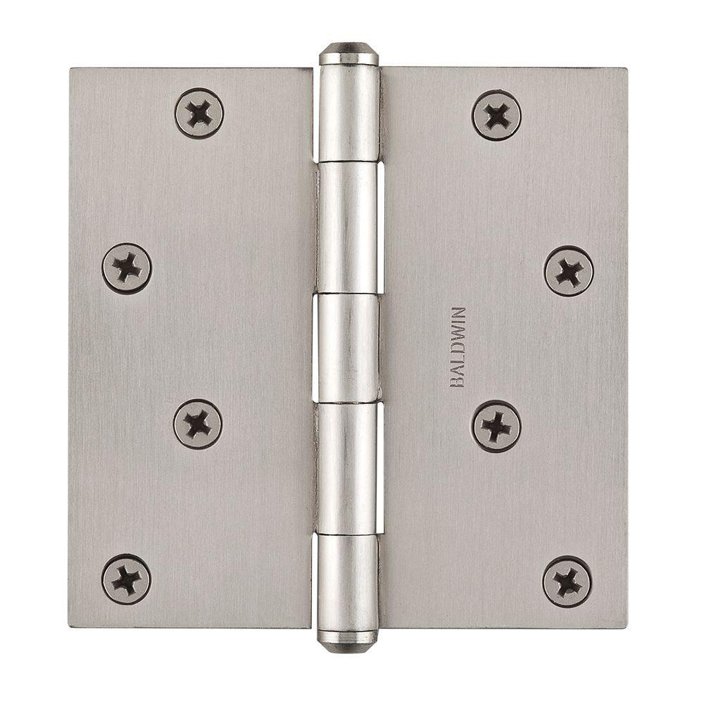 Baldwin 4 in. Satin Nickel Square Hinge-9BR7028-002 - The Home Depot