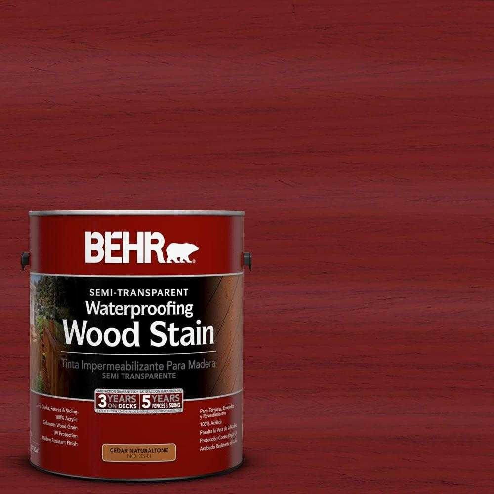 BEHR 1-gal. #ST-112 Barn Red Semi-Transparent Waterproofing Wood Stain