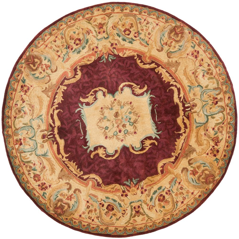 Safavieh Empire Burgundy/Gold 6 ft. x 6 ft. Round Area Rug ...