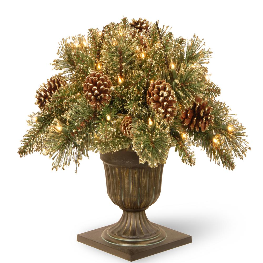 2 ft. Glittery Gold Pine Porch Artificial Bush with Clear Lights, Greens