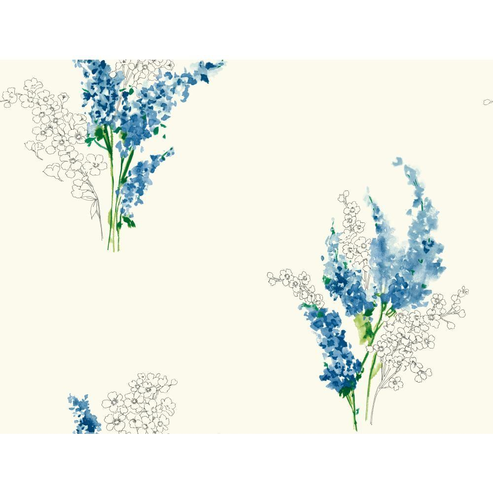 60.75 sq. ft. Watercolors Delphinium Wallpaper, White/Blue/Yellow/Green/Greens/Grey